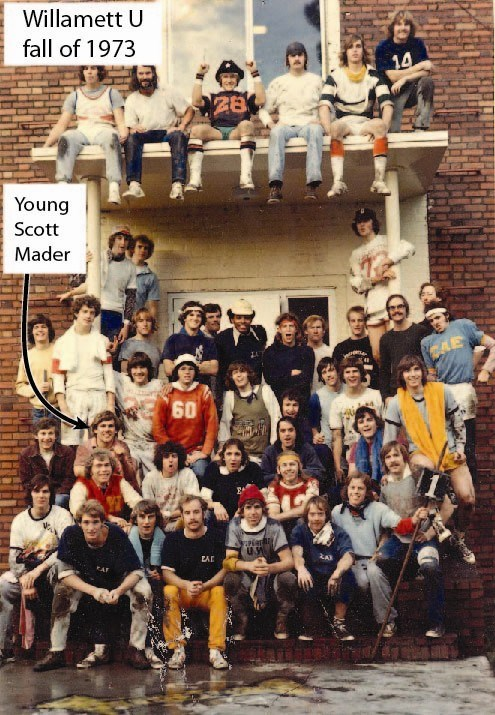The member/pledge football game at the SAE house at Willamette U 1973