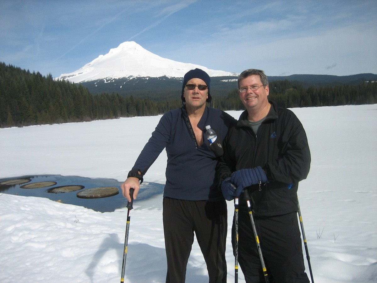 Scott Snowshoeing with Eddie