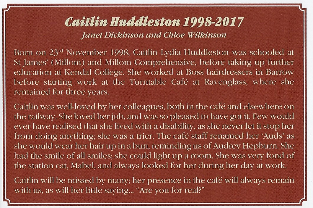 Lovely message from Ravenglass & Eskdale Railway, where Caitlin loved working xx